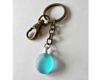 Beach Sea Glass Keychain Cute Keyring Key Chain Key Ring Beach Car Cute Gift Light Blue