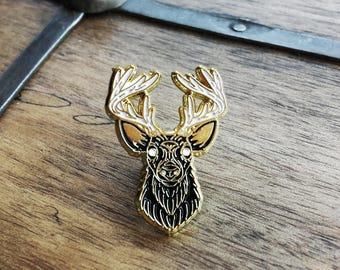 Lord of the Woodland, Stag Enamel Lapel Pin | Limited Edition| High Polish, Enamel & Gold Plated