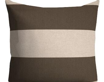 brown oatmeal pillow, stripe pillow, casual pillows, neutral throw pillows, patio pillow, pillow cover, masculine pillow, 16x16 in pillow