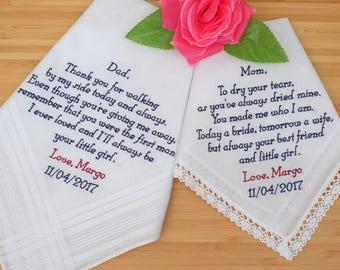 Personalized Handkerchiefs. Wedding Hankies. Mother and Father of the Bride Handkerchiefs. Embroidered Handkerchiefs Gift / Custom Set of 2