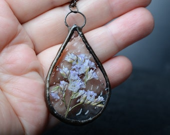 glass large pendant, bridal shower gift, preserved flower jewelry, Art Nouveau Wedding, flower necklace, terrarium jewelry