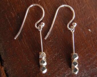 Sterling Silver Stick Bali Nugget Bead Dangle Earrings