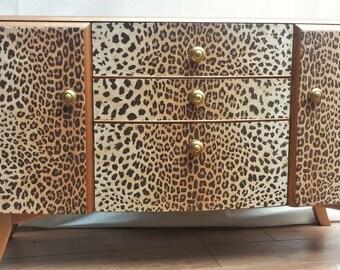 VENDU! Fab upcycled rétro vintage coiffeuse commode - imprimé léopard