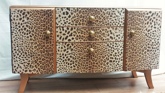 SOLD! Fab upcycled retro vintage dressing table chest of drawers - leopard print