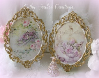 Pair Oval Italian Frames, Vintage Pink and 14K, Ornate, Antique, Cottage Chic, Paris Apt, Romantic, Shabby, Victorian