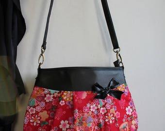 Crossbody hobo bag zipper closure - red gold - Miya