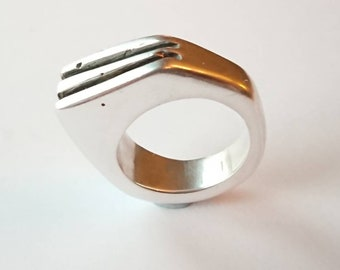 Sterling silver handmade chunky ring, hallmarked in Edinburgh