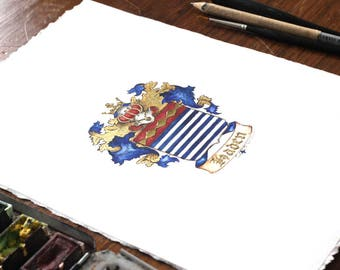 Family Crest or Coat of Arms Miniature Painting, Heraldry Art with Gold leaf or Silver Metal Leaf - custom coat of arms