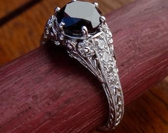 Black Diamond Engagement Ring Antique / Vintage Style Black Diamond with Diamonds Engraved Filigree Engagement  Ring 18k  White Gold