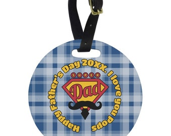 Hipster Dad Round Luggage Tag (Personalized)