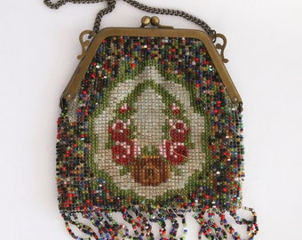 Vtg Antique Seed Beaded Purse with Fringe and Chain Handle 1910's or 1920's Germany NEEDS REPAIR