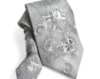 Man Tie. Hand Painted Silk Tie. Silver Tie. Gift for Him. Handmade Silk Tie. Whimsy Tie. OOAK Tie. Birthday Gift for Him. MADEtoORDER
