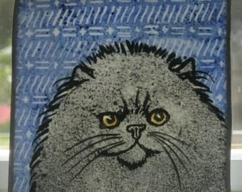 Stained Glass Cat kiln-fired Suncatcher Persian JRNcat10