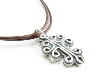 Rustic Fine Silver Cross Pendant on Leather Leather Cross Necklace Unisex Cross Jewelry Handmade Metal Jewelry PMC Jewelry
