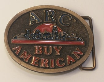 "Vintage ARC ""Buy American"" Brass and Enamel Belt Buckle made in USA by CD Hit"
