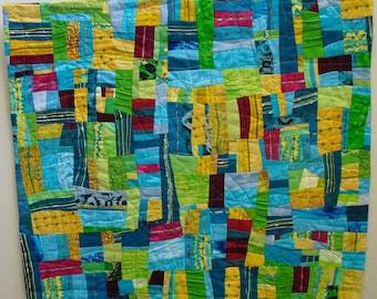 Modern,Fiber Art Wallhanging,handmade, high end repurposed fabrics.  yellows, blues and green fabrics,decorative threads,texture,artquilt