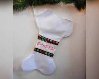 Personalized Custom Large Embroidered Dog Bone Stocking, Handmade, Christmas, Decor, Holidays, Gift, Pets, Made to Order