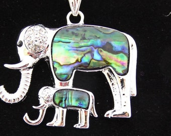 Elephant pendant, Mother and baby in abalone and silver, silver omega chain, choice of length, free shipping