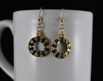 Beaded Green and Gold Earrings