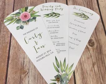 Wedding Program Fans, Petal Fan Programs, Fan Programs - Elegant Eucalyptus