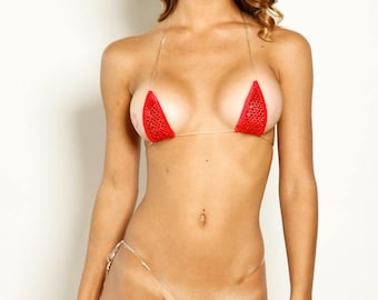 Bitsy's Bikinis Micro Bikini G-String - Red Sequin Mesh with Red Trim and Clear Invisible Strap String