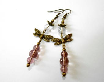 Dragonfly beads and bronze earrings
