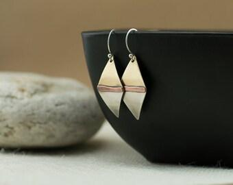 Mixed metal earrings, copper silver brass, rhombus geometric earring dangles, handmade, nickel free jewelry