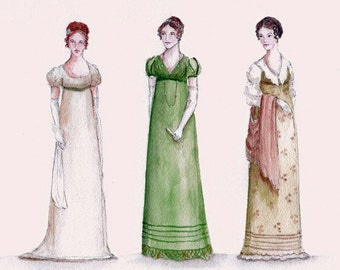 Three Austen Heroines in Green