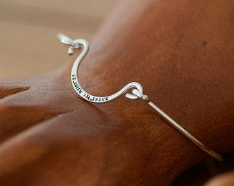 Sterling Silber personalisierte Draht Armreif (E0602)