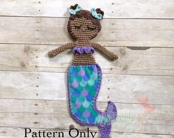 Crochet Pattern, Mini Chastity Mermaid, Fleece Lovey Blanket