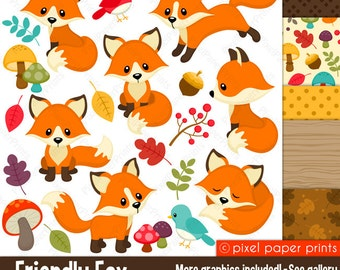 Fox clipart - FRIENDLY FOX - Clip Art and Digital paper set