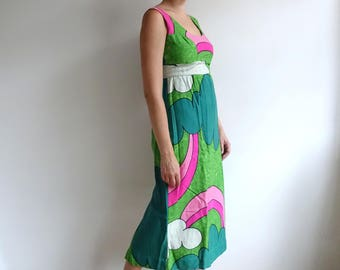 Vintage 70s Psychedelic Bold Maxi Dress/ Peter Max Style Tiki Rainbow Gown/Baba Kea Peter Pan/ Medium