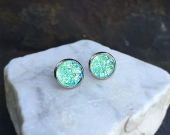 Mint Green Earrings, Green Faux Druzy Earrings, Post Earrings, Light Green Earrings, Sensitive Ears, Hypo-Allergenic, Stainless Steel