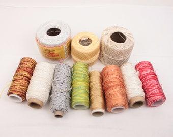 crochet thread lot // 12 pc // metallic // variegated