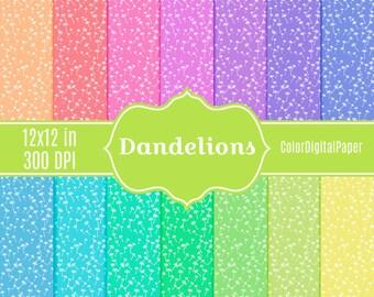 Pastel Dandelion Seeds Digital Paper Commercial Use Printable Scrapbook Paper Pack Baby Shower Background Dandelion Designs Wallpaper Fabric