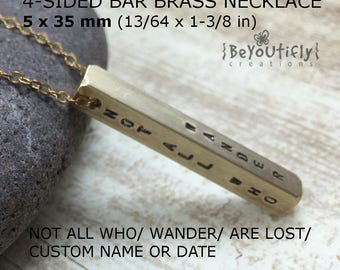 Not All Who Wander Are Lost Necklace, Custom Quote, Personalized 4 Sided Bar Necklace, Four Sides Vertical Bar , 4 Kids Names, Mom Necklace
