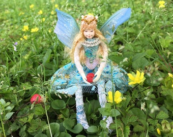 "Fae Folk® Fairies - FLUTTER - Jewel Fairy. Bendable, posable 5"" soft doll can sit, stand, or hang."