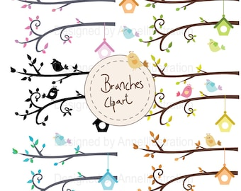 Branches Clipart,Spring birds Clipart,Trees Clipart,Branch silhouettes Clipart,Vector,Instant download Illustration_CA24