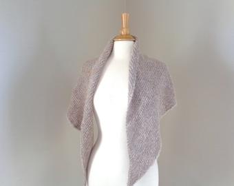 Alpaca Wrap Shawl, Hand Knit Prayer Shawl, Natural Brown, Soft Light Weight, Fuzzy Shawl Wrap, Large Scarf