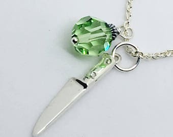 Female Chef Pendant Necklace - Lady Chef Gift - Chef Jewelry - Culinary Jewelry - Knife - Culinary School Graduation Gift - Green Swarovski