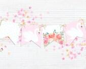 Swan & flowers Pink Garla...