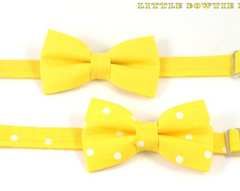 Solid Yellow bow tie OR Yellow bow tie with Polka Dots, Cotton bowtie for boys, adjustable pretied kids bowtie, metal hook adjustable bowtie