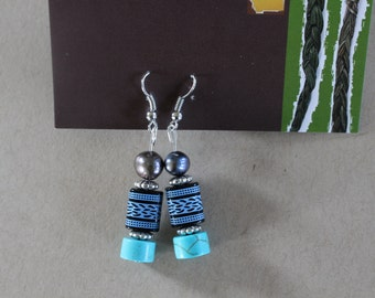 Turquoise Blue Patterned Beaded Earrings