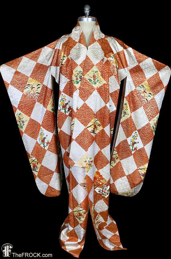 Bestickte Seide Kimono Gewand Mantel oder Morgenmantel