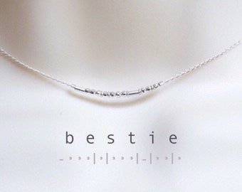 Best Friend Gift / Bestie Silver Morse Code Chain Choker Necklace Bridesmaid Gift / Friendship Gift BFF / Custom Name Sterling Morse Code