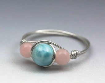 Larimar Blue Pectolite & Peruvian Pink Opal Gemstone Sterling Silver Wire Wrapped Bead Ring - Made to Order, Ships Fast!
