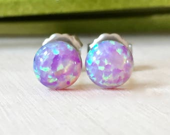 pink opal 6mm round stud earrings with titanium posts - bubble gum pink - small opal studs - synthetic opal - titanium studs