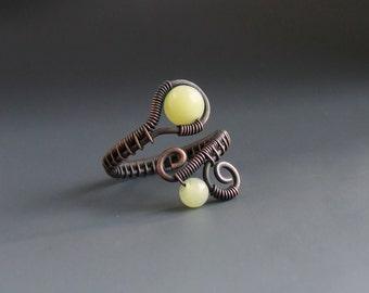 Green jade stone ring, rustic look copper jewelry, spiritual stone women gift for birthday