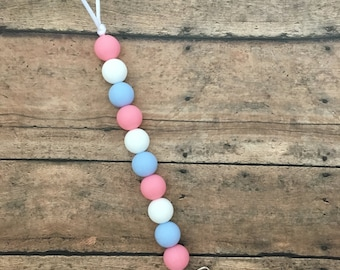Teething Pacifier Clip - Pink, White, Periwinkle