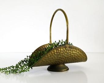 Vintage Hammered Brass Basket, made in Holland